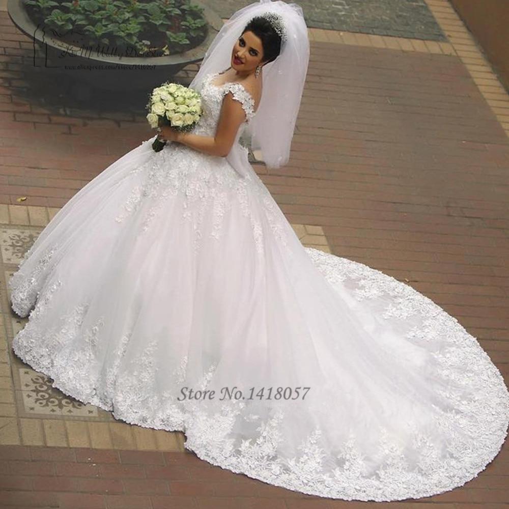 Vestidos De Casamento Noiva Branco Ball Gown Country Western Wedding Dresses Court Train Wedding Gowns Lace Bride Dress 2017