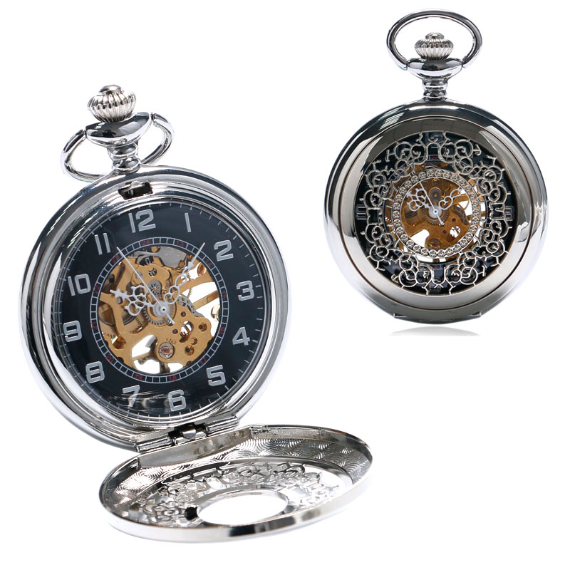 Luxury Fashion Hollow Silver Mechanical Pocket Watch With Chain Best Gift For Men Women Free Drop Shipping