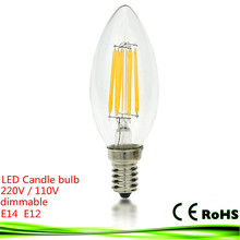 New LED e14 bulb 4W 6W 9W e12 e27 220V 110V dimmable bombillas LED filament Candle light warm/cold white Chandelier crystal lamp