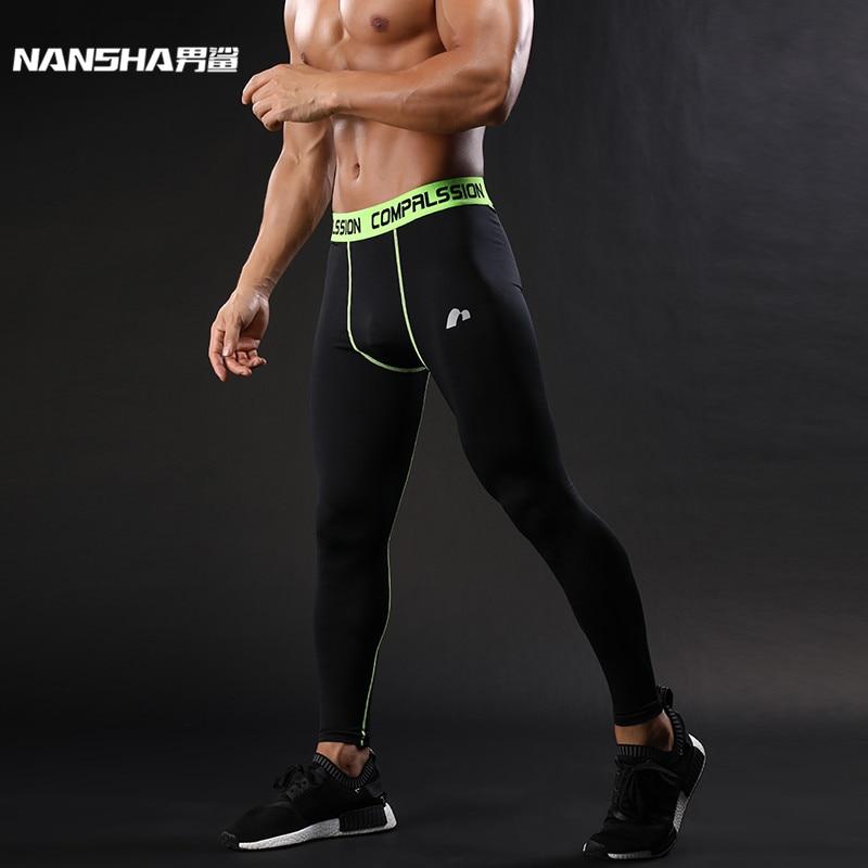 Nansha 2018 جديد ضغط السراويل ماركة الملابس قاعدة طبقة الجوارب ممارسة اللياقة البدنية طماق طويلة السراويل الترفيه السراويل الرجل