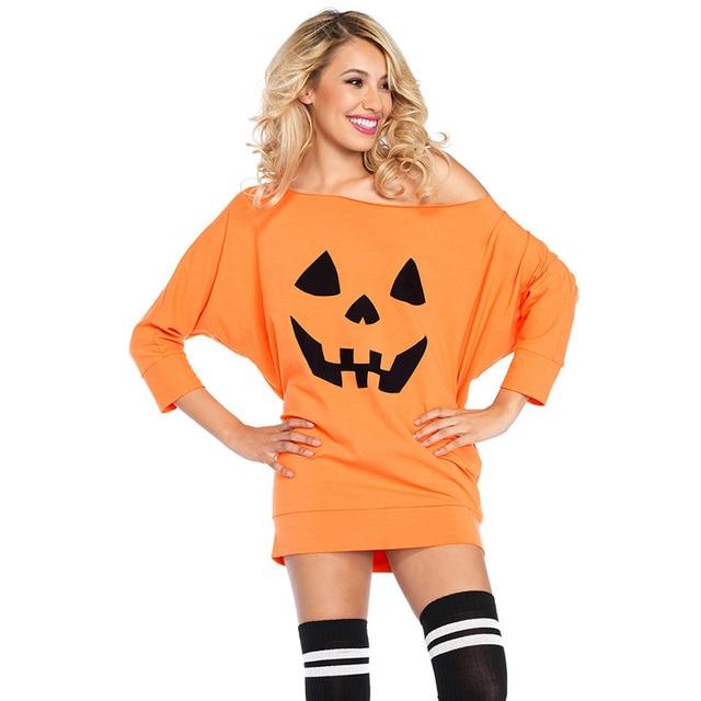 SEBOWEL Halloween Dress Maiden Woman Gothic Skull Pumpkin Pattern Festival Costume for Female Loose Jersey Dresses Clothing 2018 3