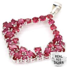 Guaranteed Real 925 Solid Sterling Silver 3.1g Deluxe Pink Raspberry Rhodolite Garnet CZ Pendant 39x31mm