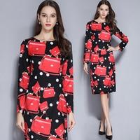 2019 New Spring Fashion Women's Clothing Long Sleeves O neck Dress Vintage Dot Flowers Printing Dresses Female