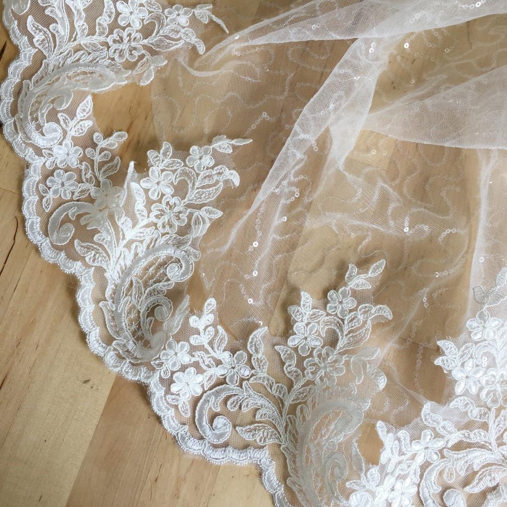 2 yards Beautiful Off white / black French Alencon lace ...