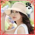 Fashion summer Women foldable Wide Brim Beach bike Sun Hat with bowtie Cotton Floppy Elegant Bohemia sun hat