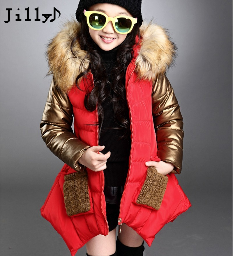 2669382bbcd4 2017 New Thickness Warmer Down Jacket For Girl Fashion Kids Winter ...