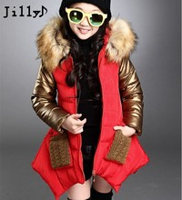 2016 New Thickness Warmer Down Jacket For Girl Fashion Kids Winter Jacket Manteau Fille Hiver Hooded Girls Winter Coat Jilly