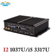 Причастником Mini промышленного ПК с процессор Celeron 1037U на борту Linux Ubuntu ПК Dual LAN 4 последовательный Порты и разъёмы