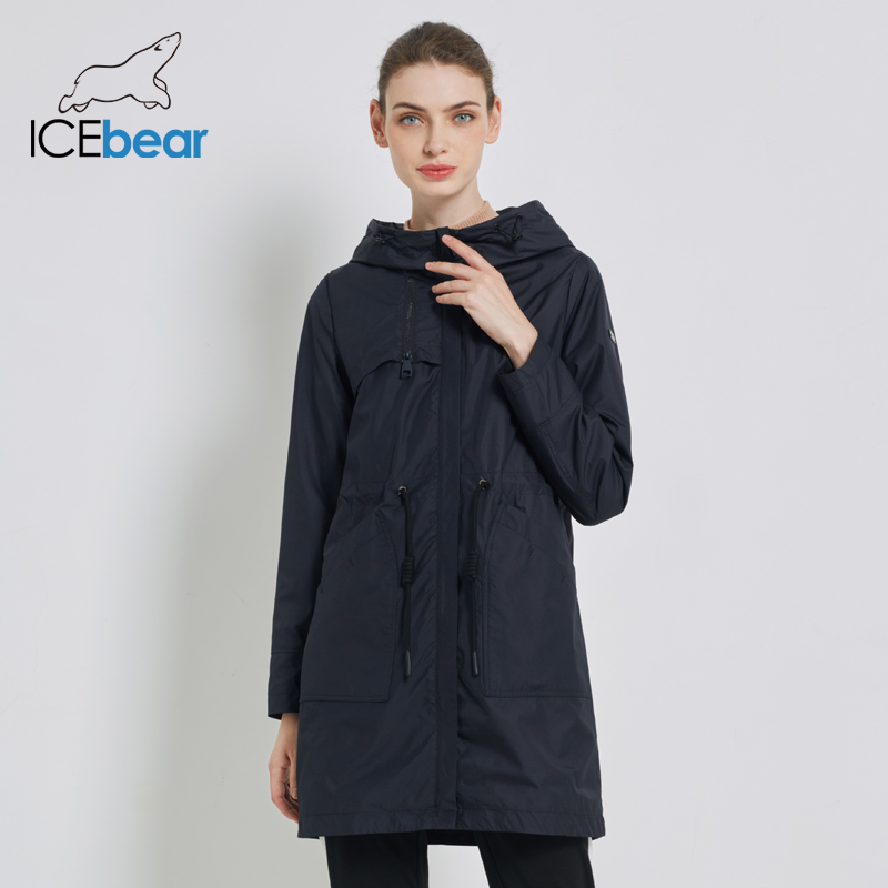 ICEbear 2019 Autumn new womens windbreaker hooded women's   trench   coat casual women's clothing loose long clothing GWF19023I