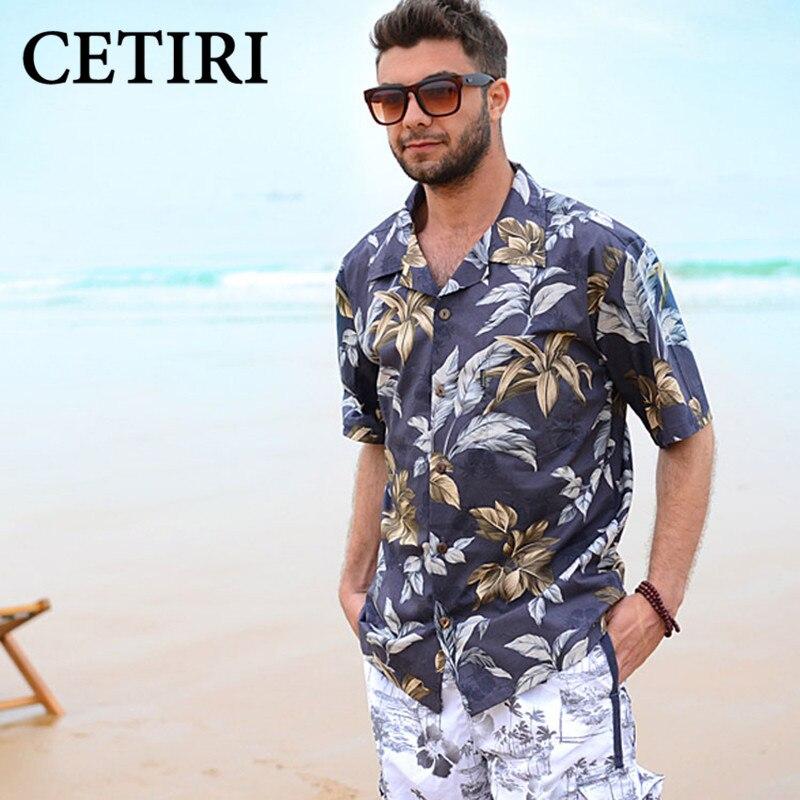 Men Shirts Beach Border Hawaiian Shirt Brand Clothing Aloha Shirt Chemise Homme Summer Style Large Size Mens Floral Dress Shirts