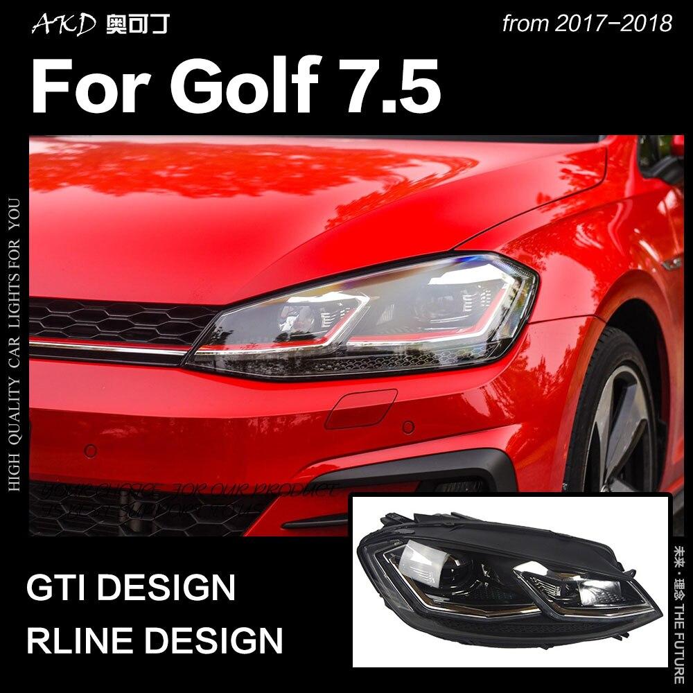 AKD Styling De Voiture pour VW Golf 7.5 LED Phare 2018 Nouvelle Golf 7 Phares DRL Hid Tête Lampe de Signaux Dynamiques bi Xénon Accessoires