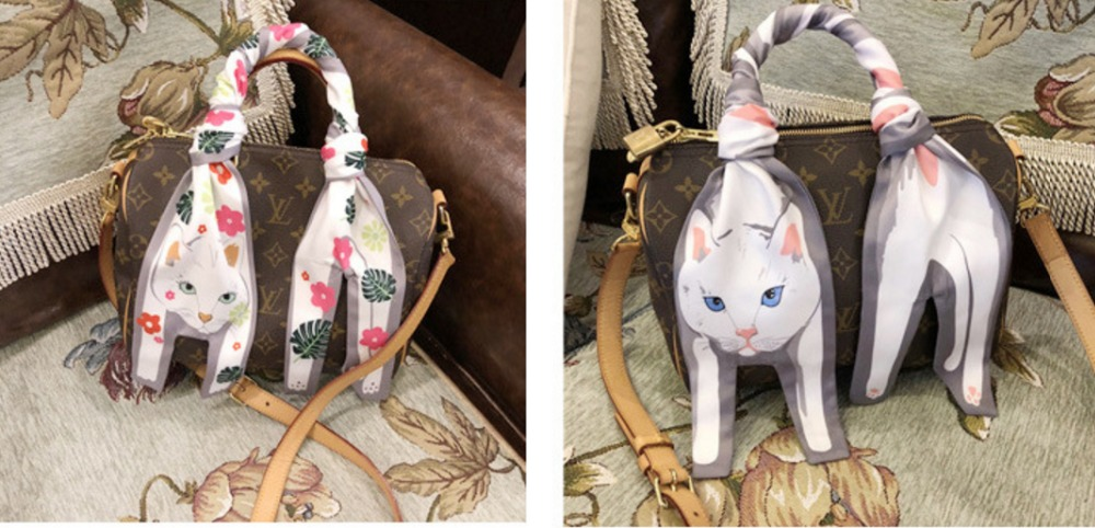 Three Dimensional Cat Silk Scarf