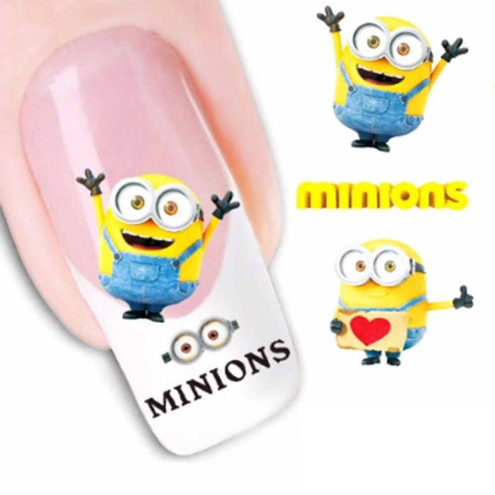 1 Aheet Cartoon Watermark Water Transfer Design Yellow Despicable Minion Tip Nail Art Sticker Nails Decal Manicure Tools