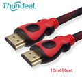 Thundeal HDMI Cable 48ft 14M 15M Braid Plated OD 7.3mm 1.4V Male to Male Adapter M/M 1080P 3D For HD Projector TV PS3 PC HDTV