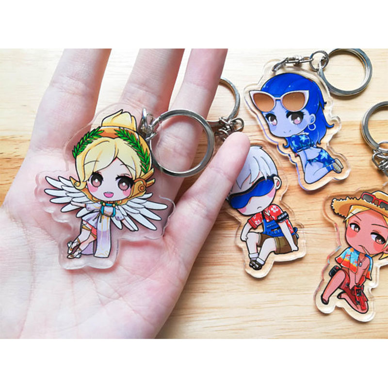 10PCS One Design personalized 7cm clear keychain acrylic badge holder customized any shape anime charms keychain