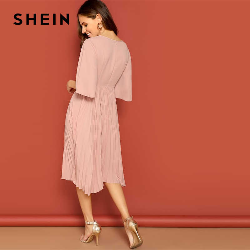 3c76a4da4d ... SHEIN Pink Knot Front Zip Bell Sleeve Round Neck Solid Plain Dress  Spring Women Three Quarter ...