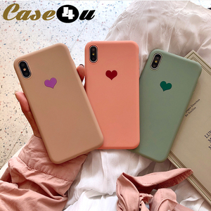 High Quality Soft Silicone Rubber Phone Cases For iPhone XS MAX XR X 10 8 7 6s Plus Love Heart Logo Cover for 8Plus 7Plus funda(China)