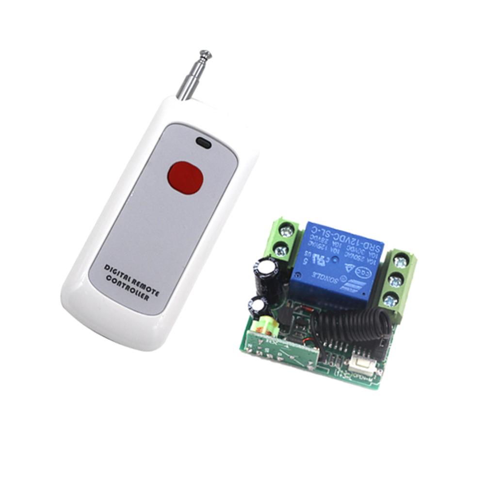 DC 12V 10A 1CH 1 CH Wireless Remote Control Light Switch RF Remote Transmitter Receiver Compatible 315/433Mhz image
