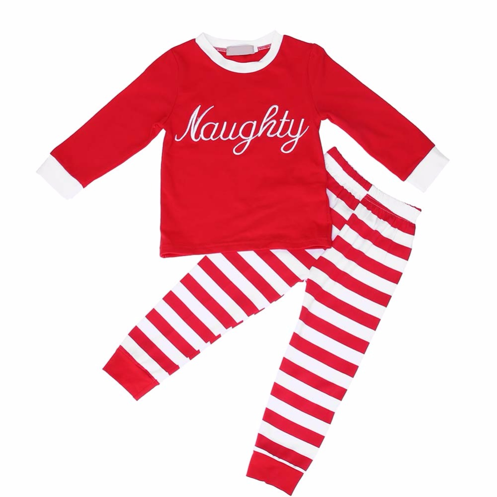 2pcs/Set Baby Casual Letters Stripe Long Sleeve T-Shirt + Pants Cotton Home Wear Sleepwear Pajama Sets