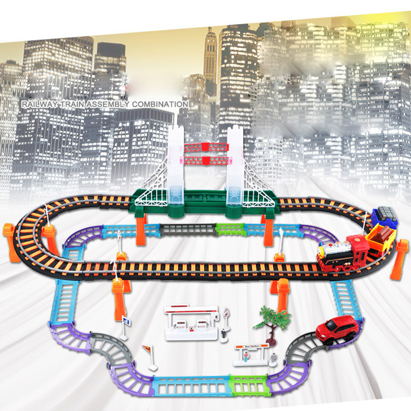 Two-layer Car Racing Magical Track Urban Express Electric City Highway Rail Track Race Driving Toys For Children Boys Girls cute sunlight toys for boys girls vehicle multi track rail car