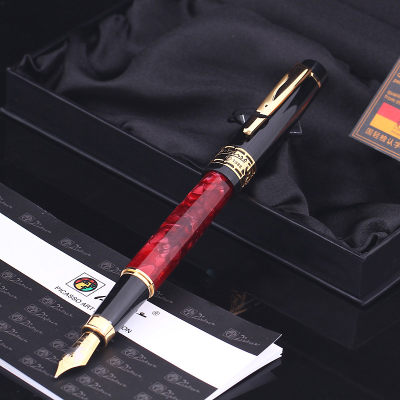 High Quality Pimio 915 Luxury Rubine and Gold Clip 0.5mm Rubine Nib Metal Fountain Pen for Christmas Business Gift Ink Pens writing business stationery crocodile 136 black and gold fountain pen with 0 5mm nib luxury metal ink pens for christmas gift