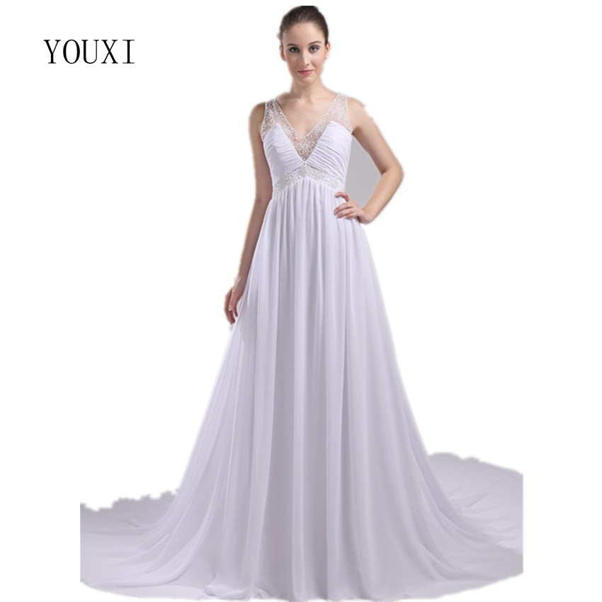Cathedral Length Train Wedding Gowns: White Chiffon Beaded Pearls Floor Length Sexy V Neck Beach
