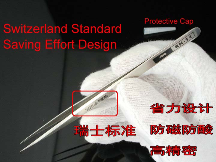 Japanese RHINO RH 11 Tweezers Anti acid High precision Super Hard Sharp for Repairing Watch or Mobile Holding Small Items in Industrial Tweezers from Tools