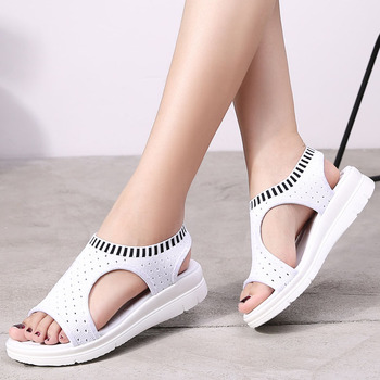 Women Sandals 2019 New Female Shoes Woman Summer Wedge Comfortable Sandals Ladies Knitting Slip-on Flat Sandals Women Sandalias