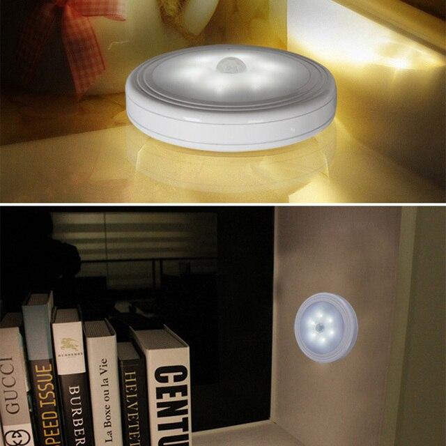 Capteur de mouvement de corps intelligent 6 LED veilleuse sans fil détecteur couloir voie placard applique murale lumière avec aimant Auto marche/arrêt