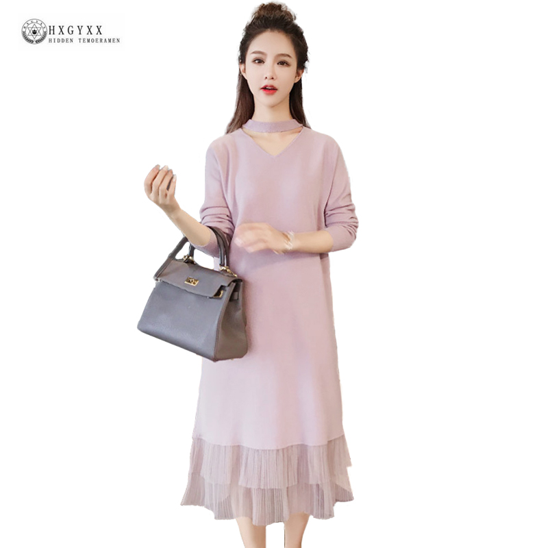Medium-Long Knitted Sweater Dress Sexy V-neck Long Sleeves Spring Straight Dresses 2018 New Fashion Solid Slim Knitwear OK1485 long sleeves layered swing sweater dress