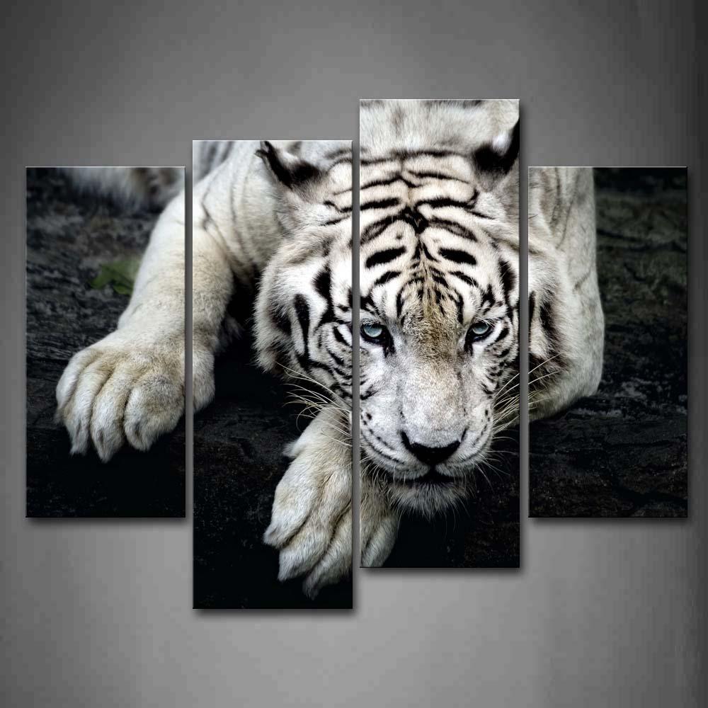 4 панели рисунок на стену без рамки картины белый тигр рок холст печать современные постеры с животными без рамки для декора гостиной