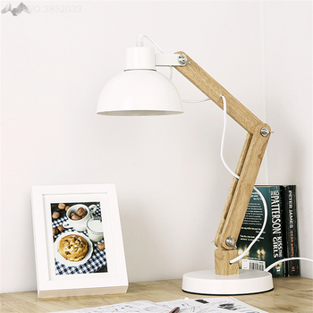 Modern Simple wood Adjustable table lamps for living room Led Bed lamp bedside light table light Tafellamp lamps bedroom