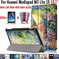 For Huawei Mediapad M3 Lite 10 Case Drawing PU Leather Magnetic Smart Wake Case For Huawei