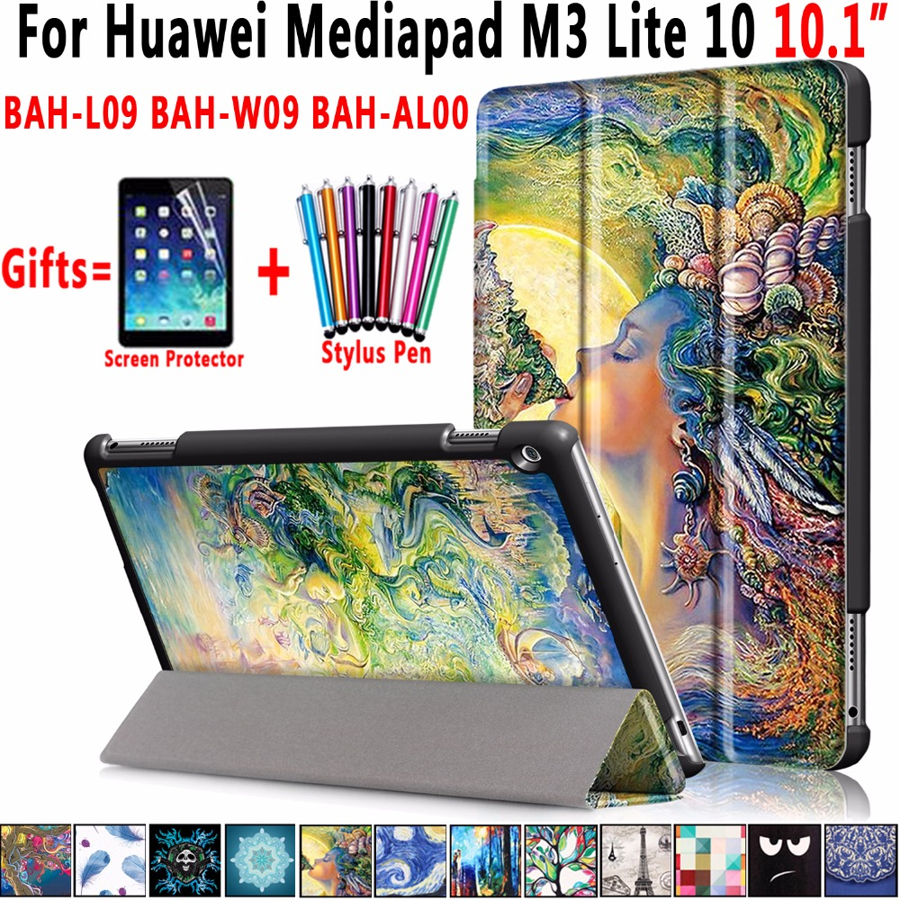 Famous Paintings Magnetic Leather Smart Auto Sleep Awake Cover Case For Huawei Mediapad M3 Lite 10 10.1 inch Coque Capa Funda