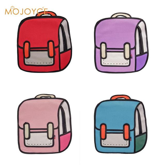 52b2f6375020 Fashion Creative Women Backpack 2D Drawing Backpack 3D Jump Style Cartoon  School Bags for Teenager Girls