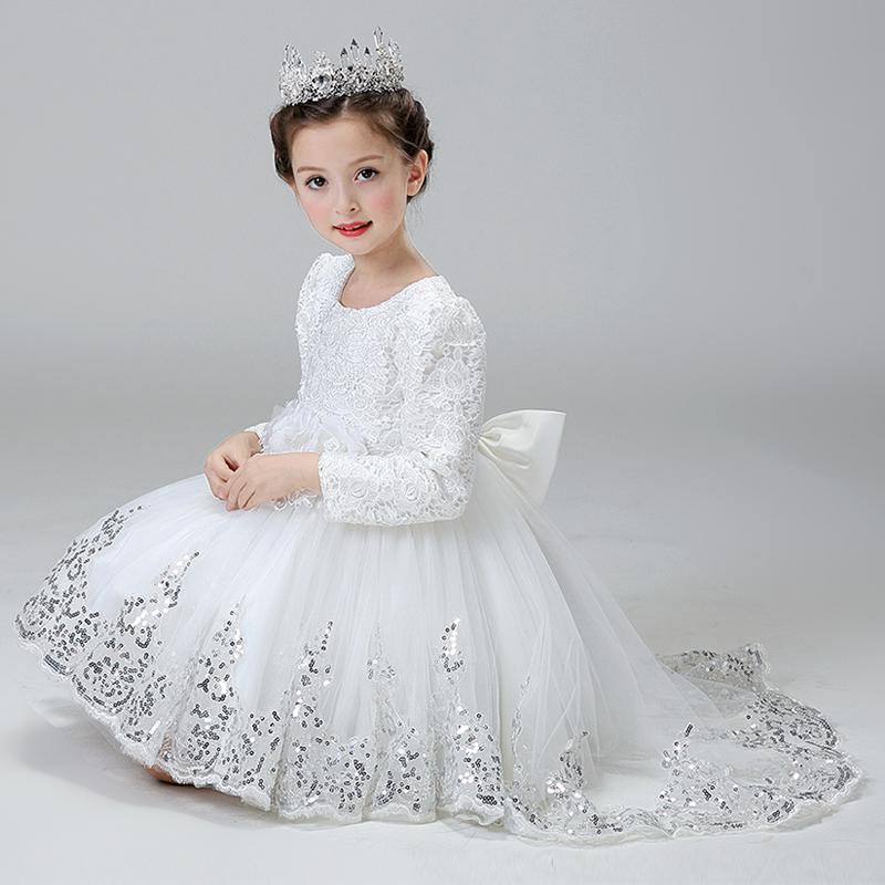 Elegant Dresses For Girls 3 4 5 6 7 8 9 10 11 12 13y Girl Princess Dress Party Formal Birthday Wedding Long Sleeve Evening Dress