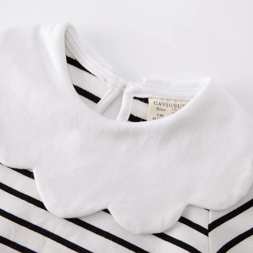 Купить с кэшбэком Spring Kids Girls T-shirt Children Long Sleeve Pan Collar Striped Tees Fashion Baby Girl O-Neck Blouse Tee Tops Lovely Clothes