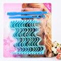 2017 Nova Beleza Cabelo Rolos de Papelão Ondulado de Água Manual de Plástico Rolos de Cabelo Perfeito Onda Curlers 30 cm 12 pcs + 2 ganchos