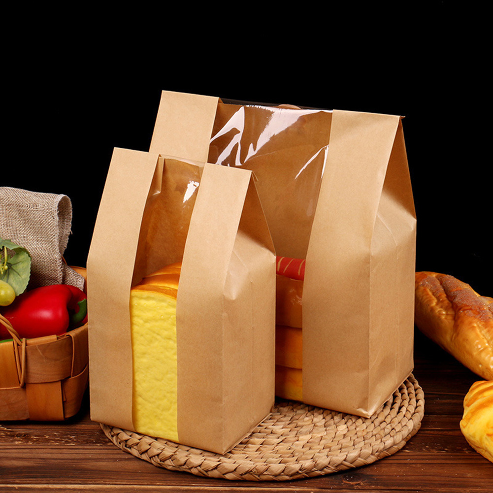50pcs Kraft Paper Bread Clear Avoid Oil Packing Toast Window Bag Baking Takeaway Food Package Cake Bag50pcs Kraft Paper Bread Clear Avoid Oil Packing Toast Window Bag Baking Takeaway Food Package Cake Bag