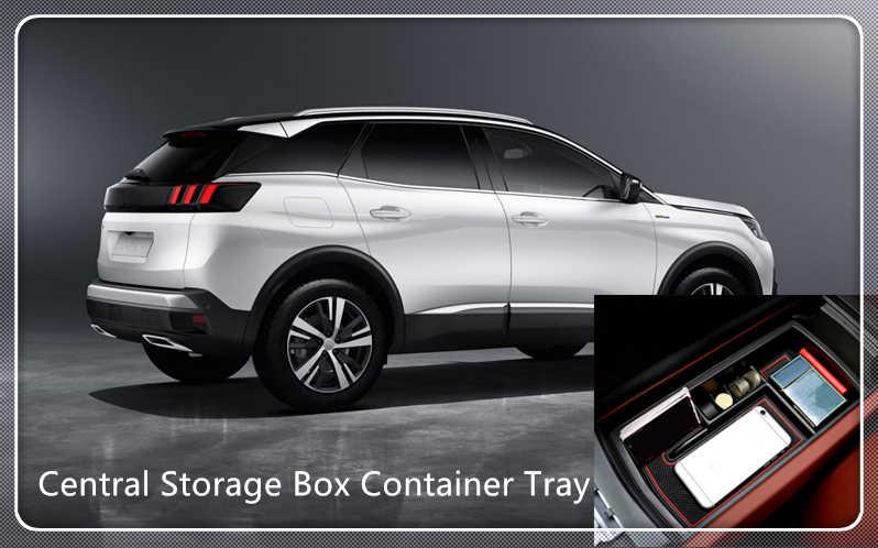 Para Peugeot 3008 GT 2016 2017 2018 2019 soporte de caja de almacenamiento de reposabrazos en el centro Interior organizador de coche accesorios de automóvil