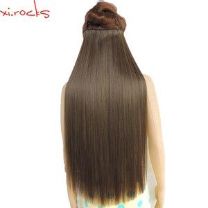 Image 1 - Wjz12070/8A 5 יחידות\חבילה Xi. סלעים סינטטי קליפ שיער הארכת אורך ישר פאה קליפים מט חלודה חום צבע פאות