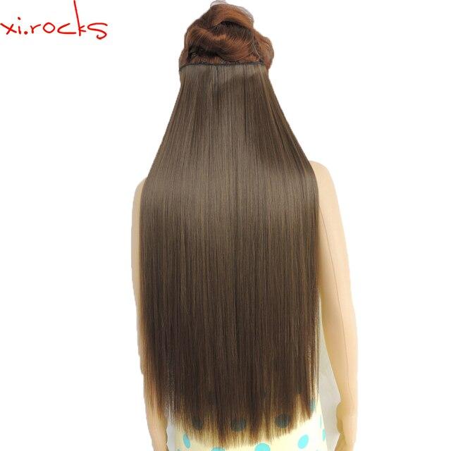 Wjz12070/8A 5 יחידות\חבילה Xi. סלעים סינטטי קליפ שיער הארכת אורך ישר פאה קליפים מט חלודה חום צבע פאות