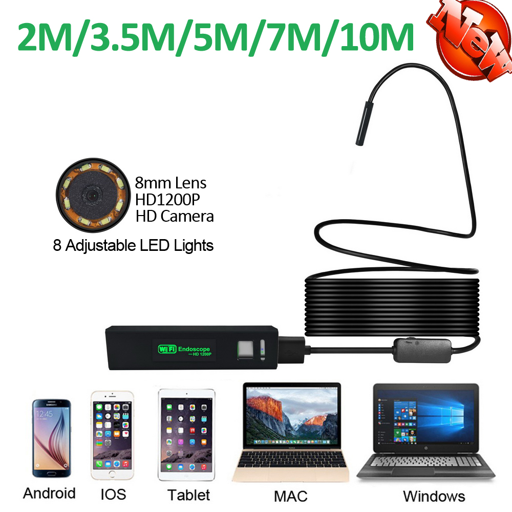 8mm Lens 1200P WIFI Endoscope 2MP Camera 10M/7M/5M/3.5M/2M Android iPhone Snake Semi-rigid 1200P USB Endoscope Wirless Borescope 2m hd 1200p wireless wifi endoscope mini waterproof semi rigid inspection camera 8mm lens 8led borescope for ios and android pc
