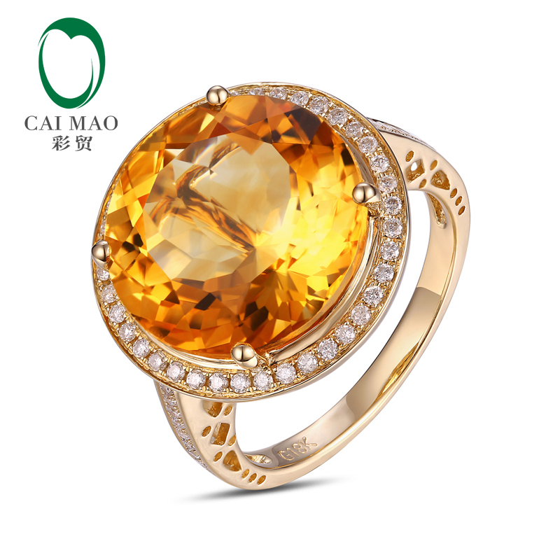цены 14k Yellow Gold 9.02ct Round Flawless IF Citrine Pave Set Diamond Engagement Ring