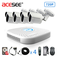 ACESEE 4CH 1080N 720P P2P Easy Installation Wired Camera CCTV System Outdoor IR Night Vision Home
