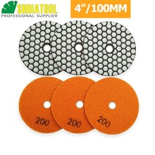 "SHDIATOOL 6pcs 4""/100mm Grit #200 Diamond Flexible Dry Polishing Pad Granite & Marble Stone Sanding Disc Resin Bond Polisher Pad"