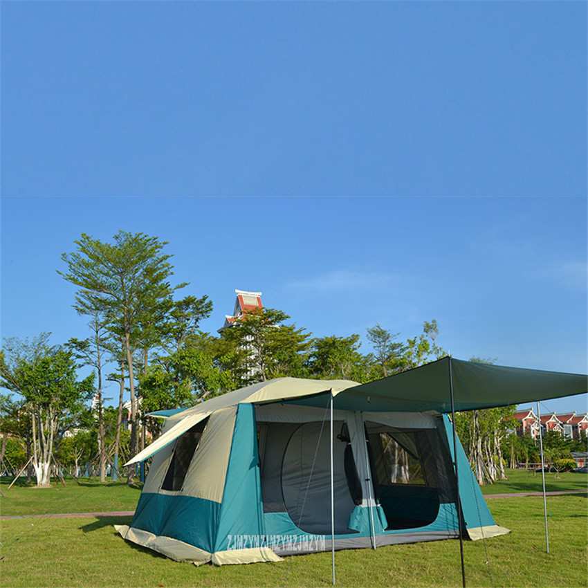 6-12 Person Camping Big Family Tent Waterproof Beach Tent Fishing Hiking Dual Layers Rainproof 2 Room Tent Great For Outdoor alltel super large anti rain 6 12 persons outdoor camping family cabin waterproof fishing beach tent 2 bedroom 1 living room