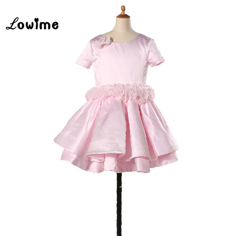 Pink Lovely   Flower     Girl     Dresses   Tiered First Communion   Dresses   For   Girls   Toddler Clothes 2016 New Fashion Kids Prom   Dresses