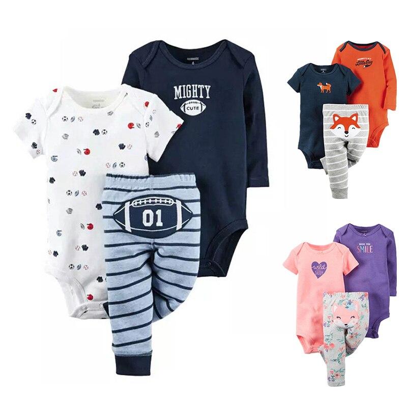 2017 Zeitlich begrenzte babys Sets 3 stücke Cartoon Baumwolle In Voller Kleidung Set Unisex Bodys + Hosen Säugling Overalls neugeborenes Baby Kleidung