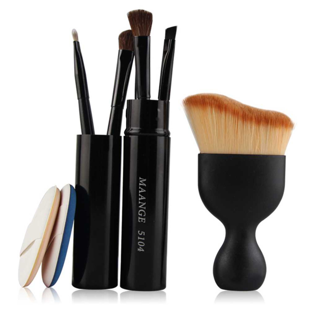 6 In 1 Cosmetic Set Pro Eye Lip Makeup Brush Set Foundation Brush Powder Puff Sponge Makeup Brushes Set Tool top quality candy color calabash shaped cosmetic makeup cotton pads sponge puff pink